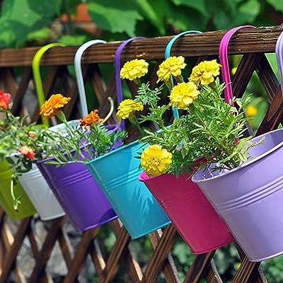 "LOVOUS 6.1"" x 4.5"" x 5.7"" Large 3 PCS Iron Hanging Flower Pots Balcony Garden Plant Planter, Wall Hanging Metal Bucket Flower Holders: Garden & Outdoor"