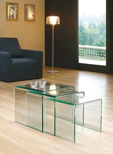 Design Beistelltisch 3er Set Aus Glas Klar 3 Quadratische