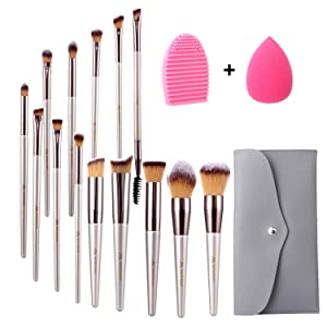 Miserwe 17Pcs Makeup Brushes Set Professional Cosmetic Brushes with Makeup Sponge Brush Cleaner and Travel Makeup Bag with Face Eye Shadow Foundation Lip Liquid Blending Brush Kit
