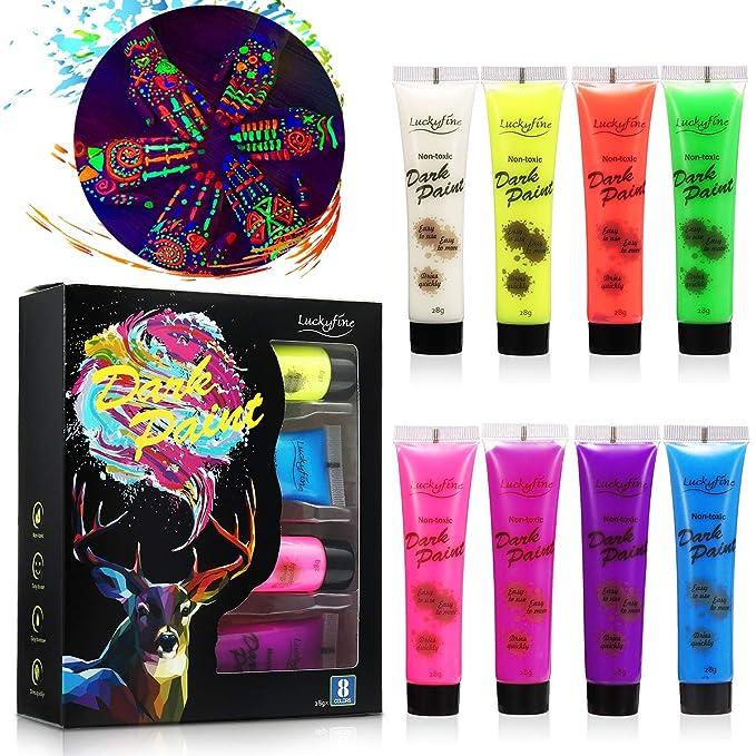 Set de tubos de pintura fluorescente de 8 colores neón