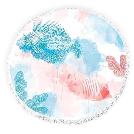 Yun Nist Toallas de playa redondas con borlas acuarela vida marina corales peces flecos círculo grueso