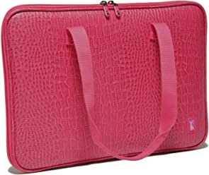 58bdf417a411 クロコ・ピンク ショルダーパソコンケースおしゃれなノートパソコンバッグ 女性用 PCケース PC