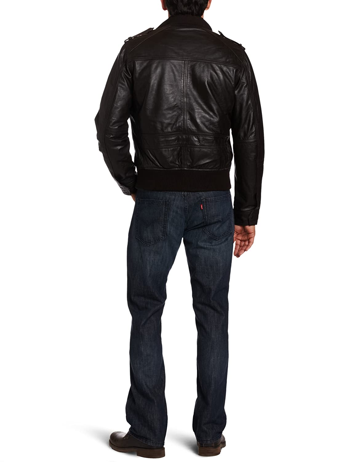 096bf6f8f Dockers Men's Limited Offer Military Leather Bomber Jacket, Dark ...