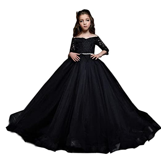 Amazon Shenlinqij Black Floor Length Flower Girl Dress Lace Top