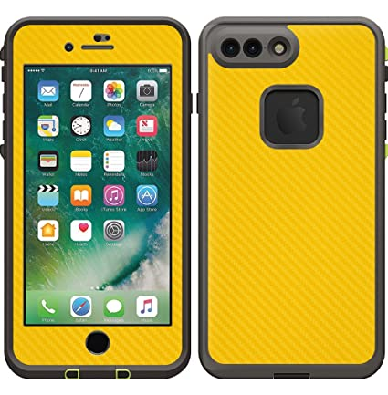 new product 75ecb 4e061 Decalrus Protective Vinyl Skin Decal for Lifeproof FRE SERIES Case for  iPhone 7 PLUS & iPhone 8 PLUS YELLOW Texture Carbon Fiber case wrap cover  ...