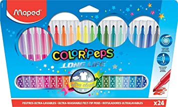 Maped Color Peps Long Life - Pack de 24 rotuladores en estuche de cartón