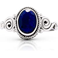Koral Jewelry Created Sapphire Spiral Sides Small Ring 925 Sterling Silver Vintage Tribal Gipsy Boho