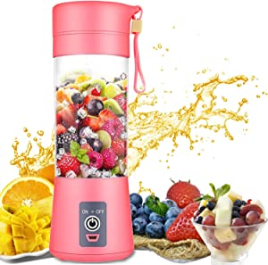 Portable Blender Single Serve, Personal Size Blender USB Rechargeable Juicer Cup Fruit Mixing Machine Baby Travel 380ml FDA, BPA-Free (Pink)