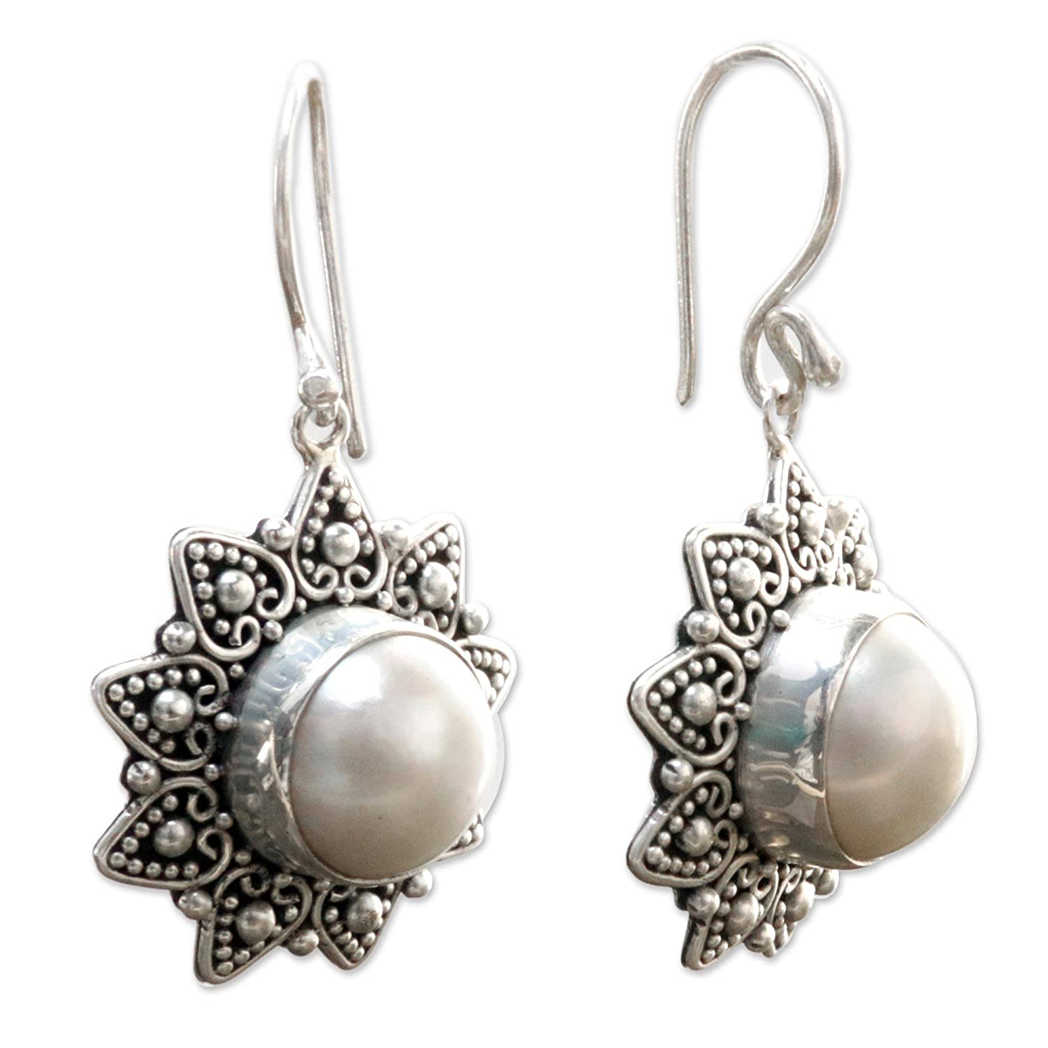 NOVICA Dyed Mabe Cultured Pearl and Sterling Silver Flower Bridal Earrings Melati Hearts