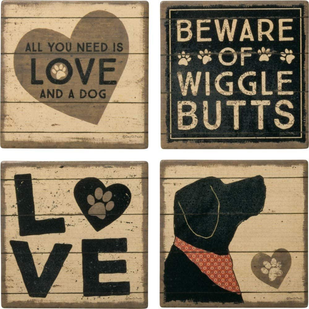 Primitives by Kathy 39365 Stoneware Coasters, Love and a Dog