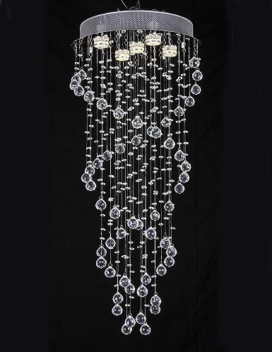 Spiral Crystal Chandelier Chrome Pendant Hanging Lights Ceiling Light Decor