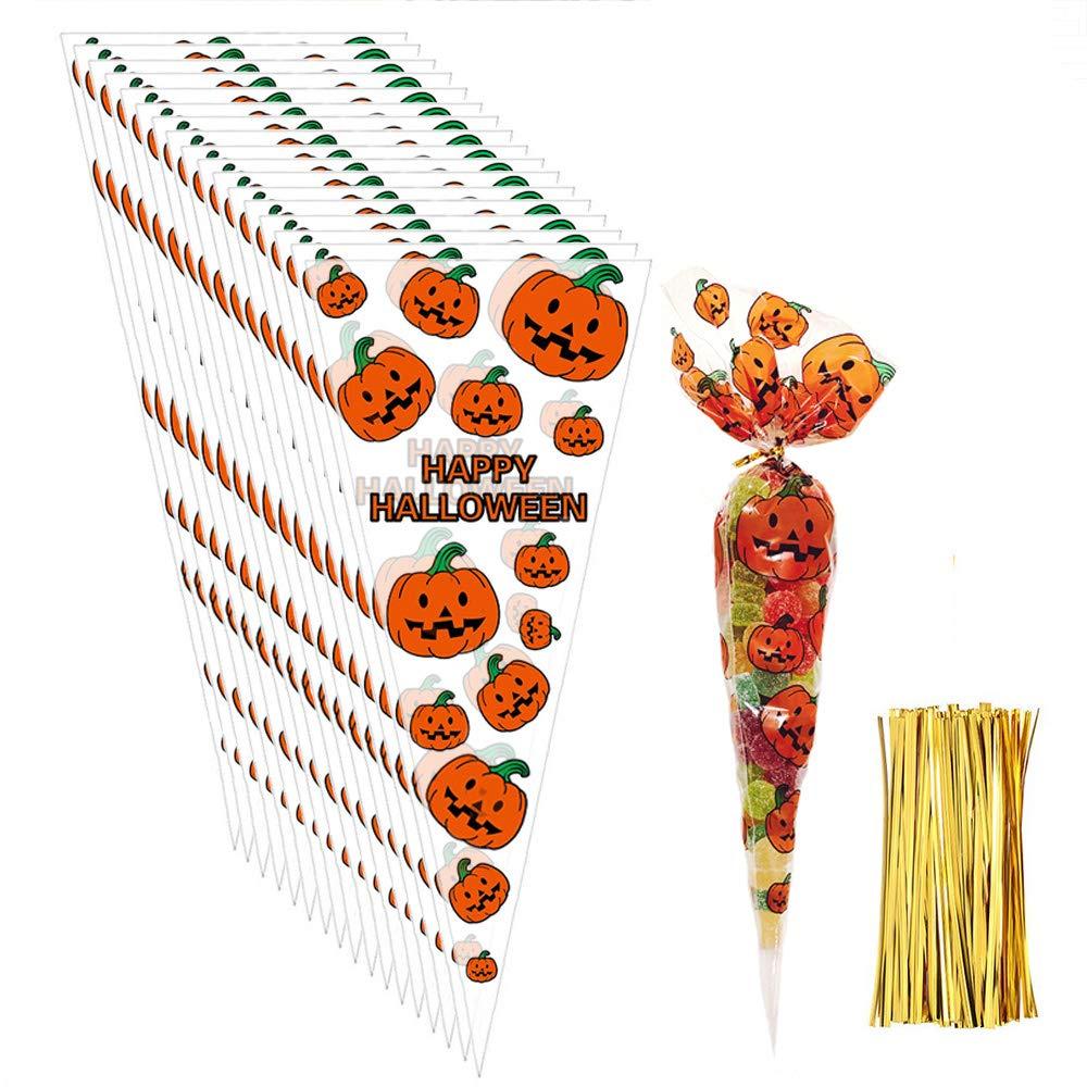 Viccess 200 Piezas Halloween Bolsa Caramelos Bolsas de Cono Transparentes Bolsas de Celof/án con 200 Piezas de Precintos Dorados para Suministros de Fiesta de Halloween Calabaza