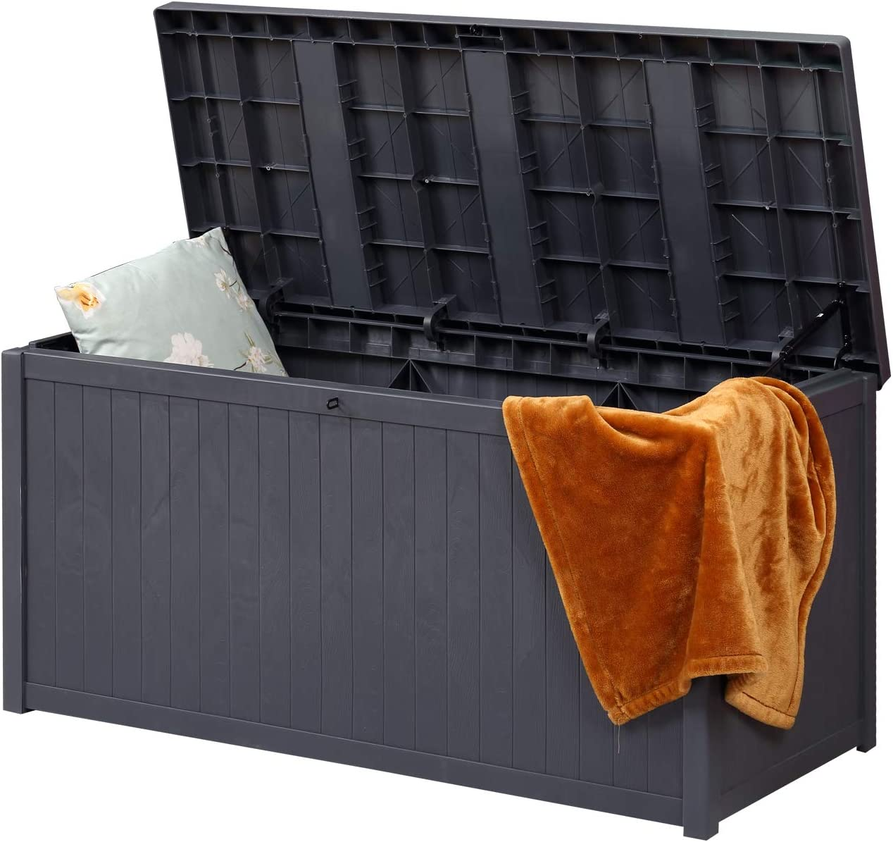 OVASTLKUY Outdoor Storage Container Deck Box-Organization and Storage for Patio Furniture, Outdoor Cushions, Garden Tools and Pool Toys (C006)