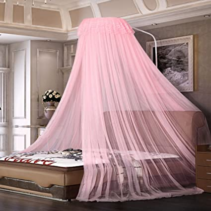 Amazon.com: WENZHANG Round fly screen,Pink universal princess bed ...