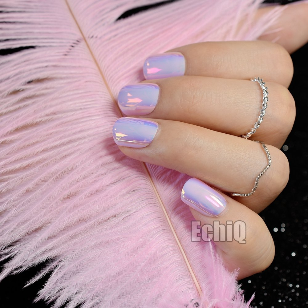 Amazon.com : Chrome Holographic Fake Nails Light Pink Mirror Shiny False Nails Finger Full Wrap DIY Nail Tips with Glue Stiker Z720 : Beauty