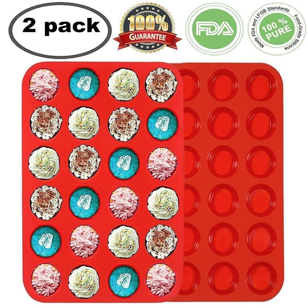Premium Silicone Mini Muffin & Cupcake Baking Pan Large Non Stick 24 Cup Cookies Molds Bakeware Tin Soap Tray Mould by Meiso (Set of 2) (Red)