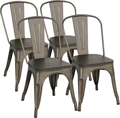 YAHEETECH Metal Dining Chairs/Gun Metal Chairs/Industrial Chairs/Metal Chair