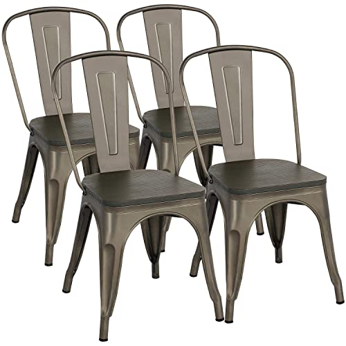 Yaheetech Metal Dining Chairs Gun Metal Chairs Industrial Chairs Metal Chairs with Wood Seat Top of 4, 18 Inch