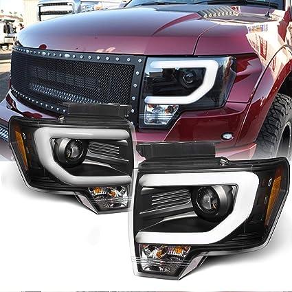 Com For Ford F150 F 150 Pickup Black Bezel Drl Daylight Led Strip Halogen Type Projector Headlights Lamps Automotive