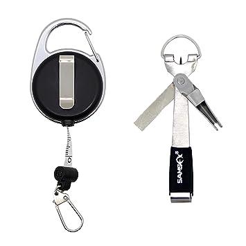 SAMSFX - Herramienta de Pesca para Atar con Nudos rápidos 4 en 1 con Mosca y Retractor de zingón, Silver Knot Tool with Measuring Tape Zinger: Amazon.es: ...