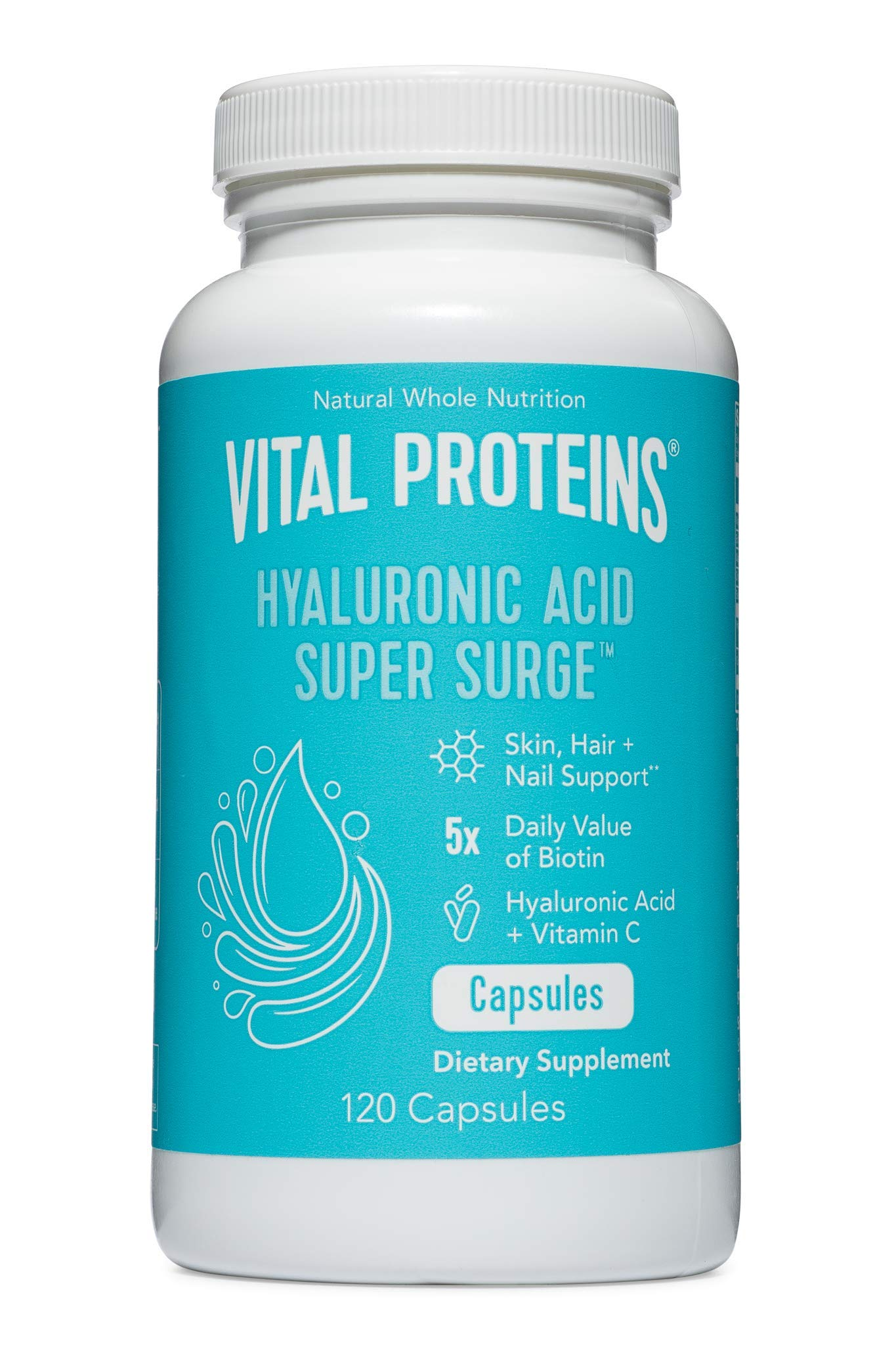 Vital Proteins Hyaluronic Acid Capsule Pills - 120mg of Hyaluronic Acid, 150 mcg of Biotin, and 180mg of Vitamin C