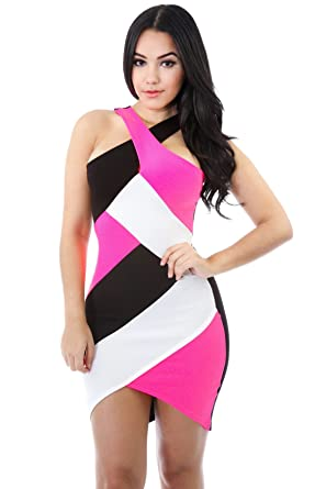 8977df378bc Amazon.com  GITI ONLINE Queen Tiff Dress S NEON Pink Black  Clothing