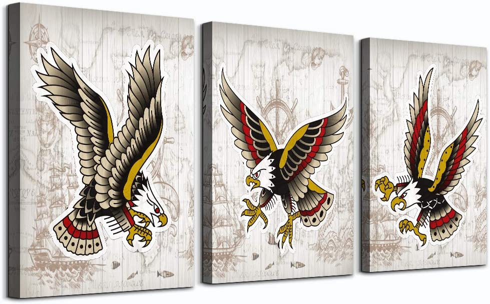 "Canvas Wall Art for living room family bedroom Wall Decor modern wall decorations for office bathroom kitchen wall paintings Wood grain eagle wall pictures Artwork Home Decoration 12"" x 16"" 3 Pieces"