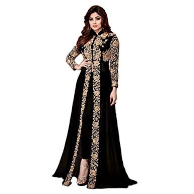 f8e74231dd6 Amazon.com  Desinger Heavy Faux Georgette Fabric Embroidered Floor Length  Anarkali Salwar Suit  Clothing
