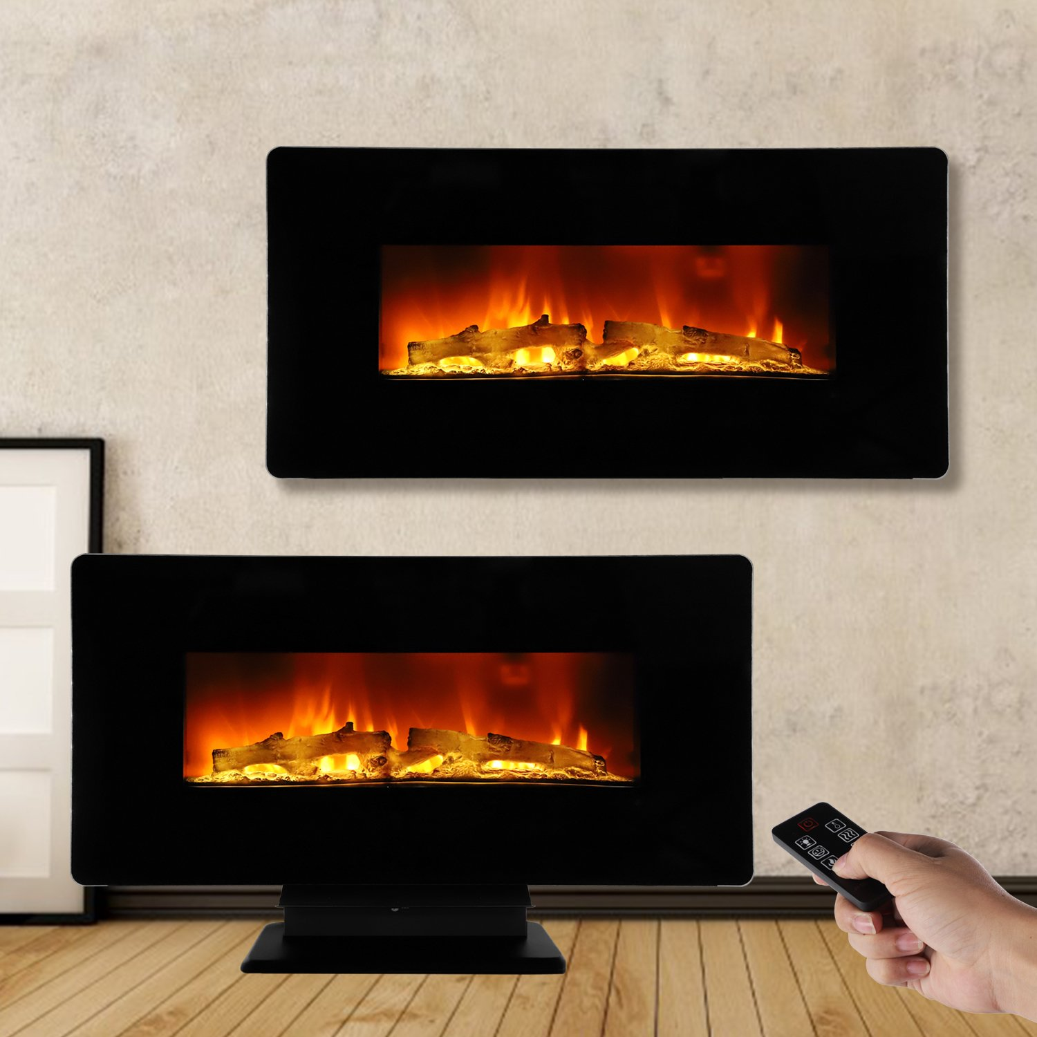 ROVSUN 36'' Electric Fireplace 1400W,2 in 1 Logs Wall Mounted or Freestanding Adjustable Heater With Remote Control & Timer,Flat Panel,Featuring 36 Color Mode Combinations, CSA Listed(Black)