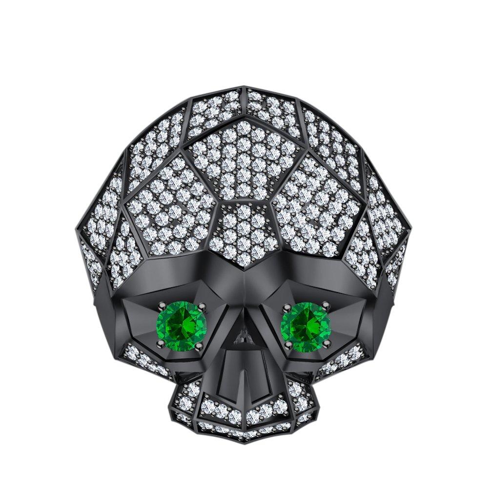 RUDRAFASHION Men's Women's 14K Black Gold Plated 3.80 ctw White CZ & Green Emerald Half Jaw Skull Ring