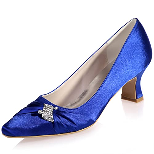 a7ffc925cb6 Clearbridal Women s Satin Low Heel Pointed Toe Wedge Heel Wedding Bridal  Court Shoes for Evening Party