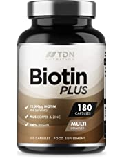 Biotin Tablets for Hair | 12000mcg per Serving | 180 Capsules | UK Made Biotin Hair Growth Supplement | Enhanced with Copper and Zinc | Supports Normal Hair Growth and Colour | 3 Months Supply