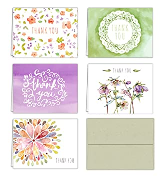 amazon com floral watercolor thank you cards 10 cards sage green