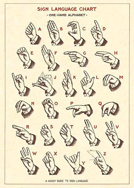 amazon com cavallini co sign language chart poster wrapping