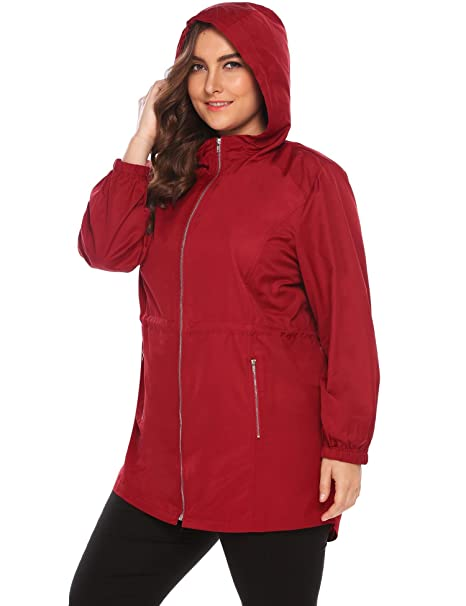 0563bb28bd7 Womens Plus Size Lightweight Windbreaker Raincoat Travel Hoodie Rain Jacket  Windproof Hiking Waterproof Coat Red