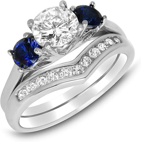 Amazon Com Simulated Blue Sapphire Wedding Engagement Ring Set