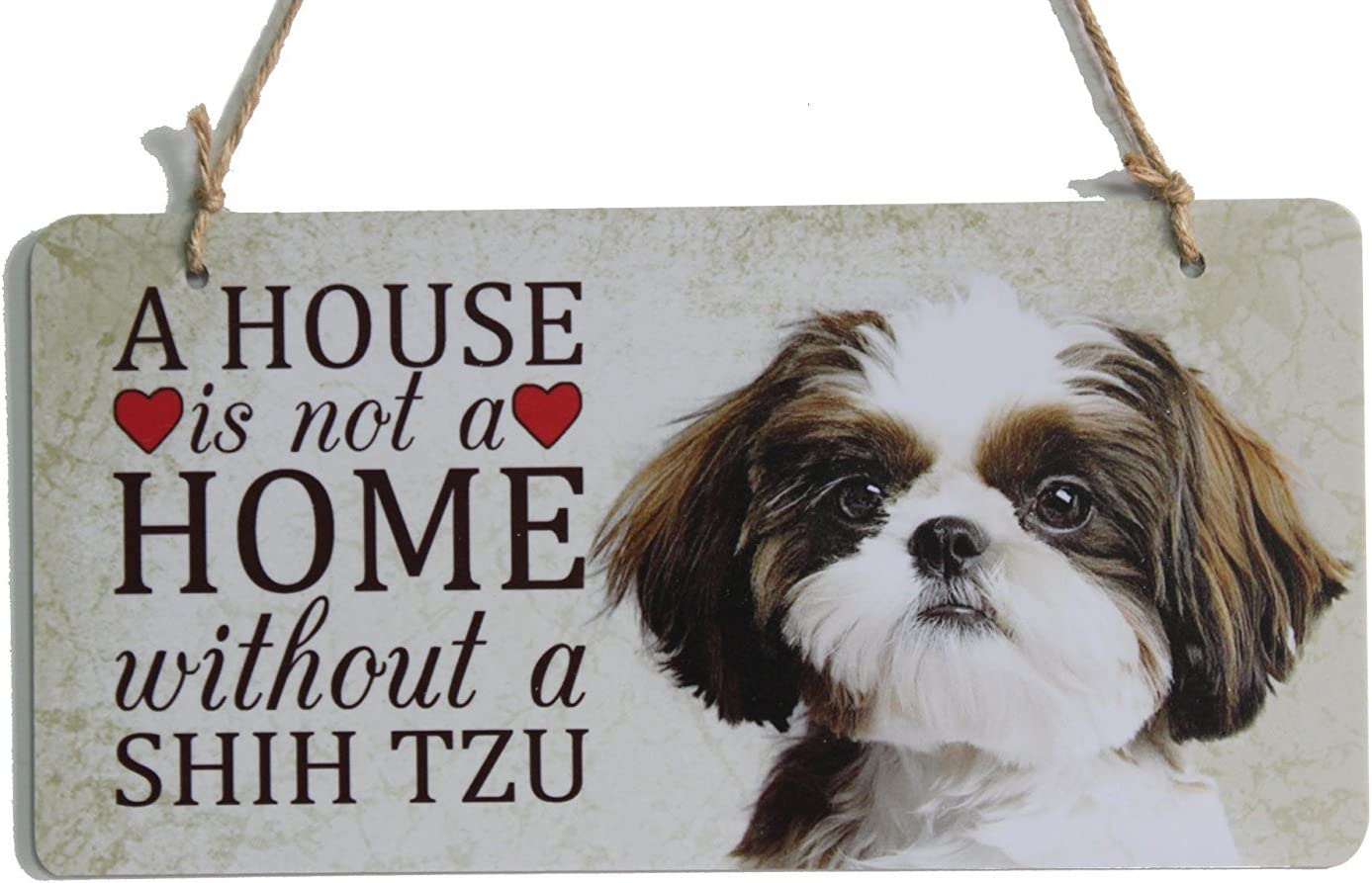 """zhongfei A House is not a Home Without a Shih Tzu Sign Dog Breed Sign Perfect for Dog Lover (5"""" x 10"""")"""
