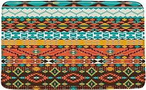 CHui DECOR Aztec Bath Mat,Southwest Native American Tribal Navajo Indian Ethnic Geometric Boho Striped Art Soft Microfiber Memory Foam Bathroom Rugs,20X31 Inch