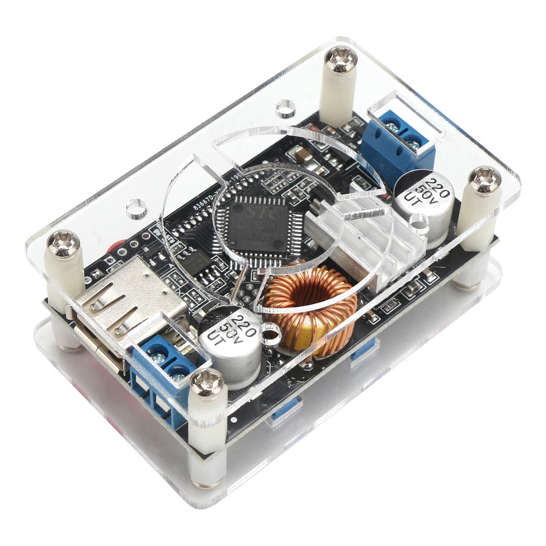 DROK Adjustable Buck Converter Step Down Voltage Regulator 6V-32V 30V 24V 12V to 1.5-32V 5V 5A LCD Power Supply Volt Reducer Transformer Module Board with USB Port Protective Case DC Buck Module