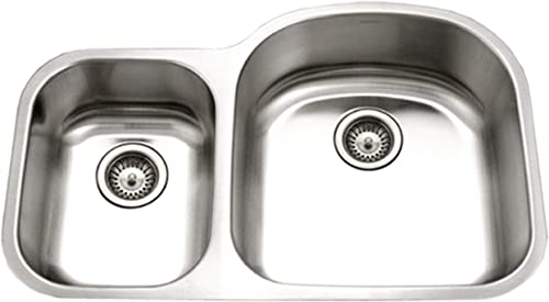 Houzer PNC-3200SL Eston Series Undermount 70 30 Double Bowl Kitchen Sink T-304 Stainless Steel