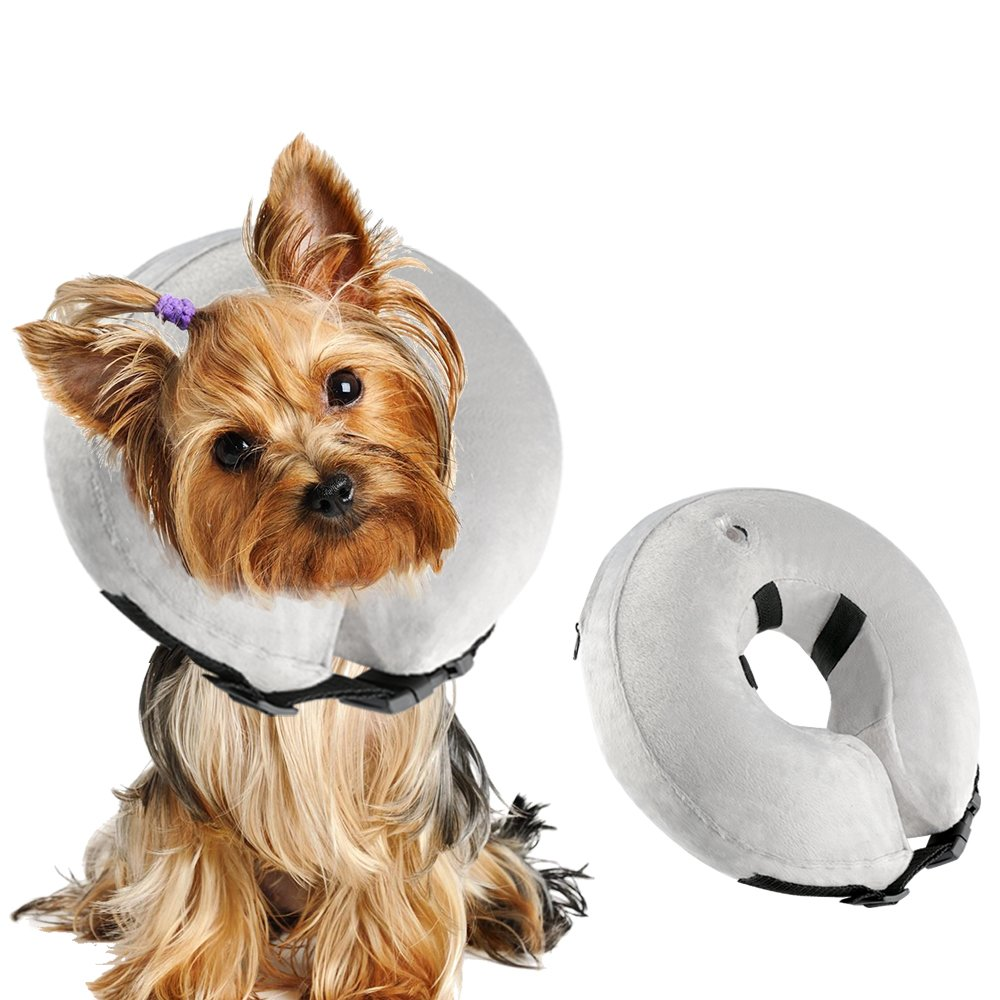 BAODATUI Dog Cone Collar Soft - Inflatable Dog Collars for After Surgery, Protective Collar for Dogs,Adjustable Pet Recovery E-Collar for Small Medium Large Dogs - Small