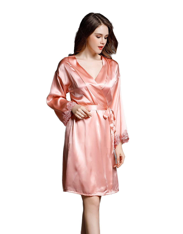 6ec400531b CLC Women s Pure Mulberry Silk Pajama Night Robe at Amazon Women s Clothing  store