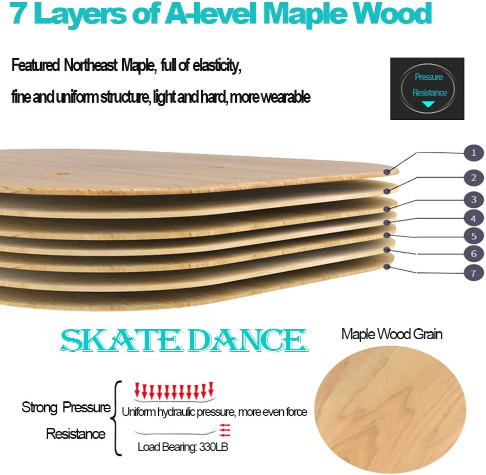 Zodae Portable Roller Road Drift Skates Plate with Cool Maple Deck Anti-Slip Board Split Skateboard with PU Wheels High-end Bearings ONSN