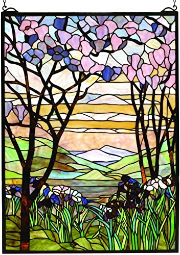 Meyda Tiffany 98589 Tiffany Magnolia Iris Stained Glass Window, 22 W x 30 H