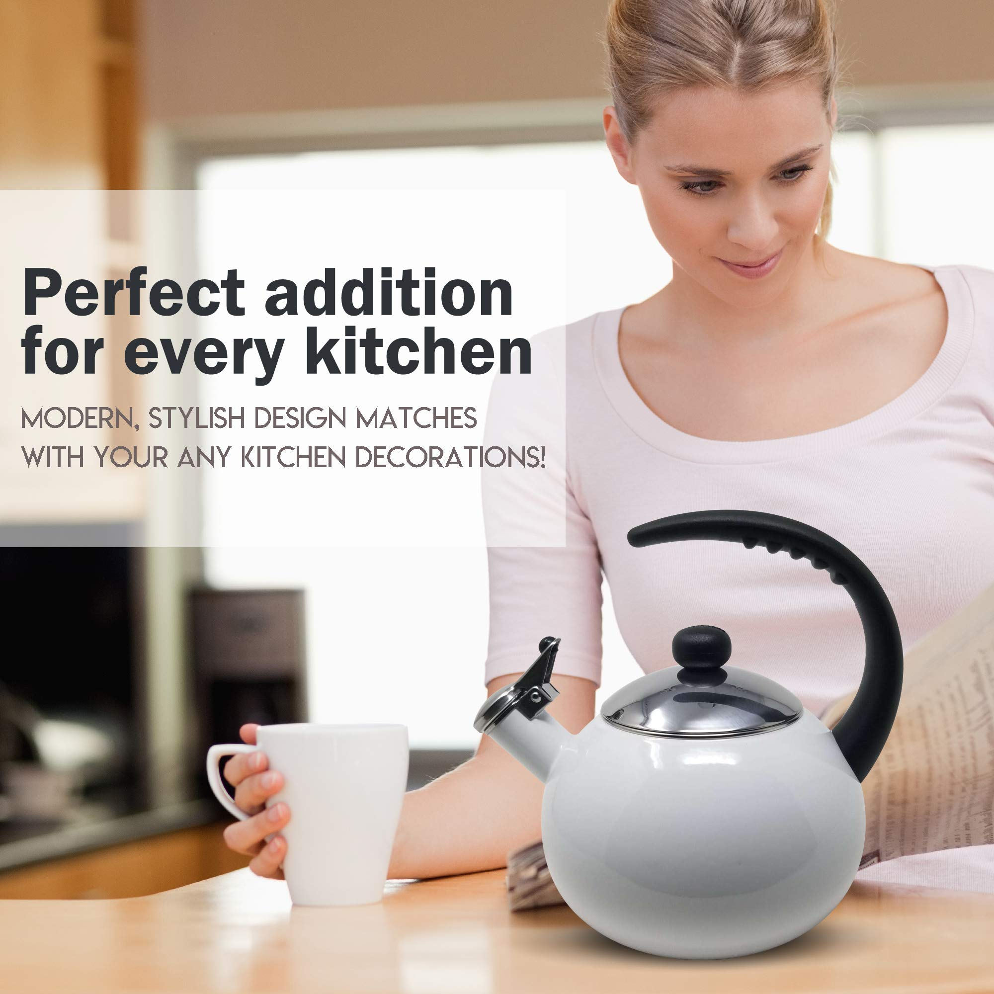 Farberware Luna White Porcelain Enameled Food Grade 18/8 Stainless Steel Soft Whistle Anti- Hot and Anti-Rust TEA KETTLE with Soft Grip Handle Flip Up Spout Heavy Gauge STOVETOP POT 2 QT. by Alfay (Image #7)