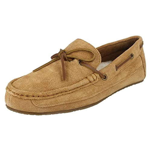 203bf146b2d Clarks Mens Crackling Glow Tan Suede Leather Fur Boat Slippers G Fit Size  10  Amazon.co.uk  Shoes   Bags