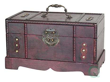 Antique Wooden Trunk, Old Treasure Chest - Amazon.com: Antique Wooden Trunk, Old Treasure Chest: Kitchen & Dining