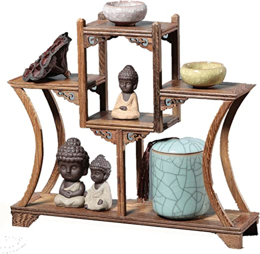 Chinese Wooden Curio Shelf Antique-and-Curio Display Stand Keepsakes or Plant Shelving Unit