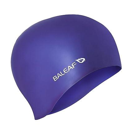814b1947144 Baleaf Silicone Swimming Caps Durable Elastic Long Hair Swim Cap Women Men  Royal Blue