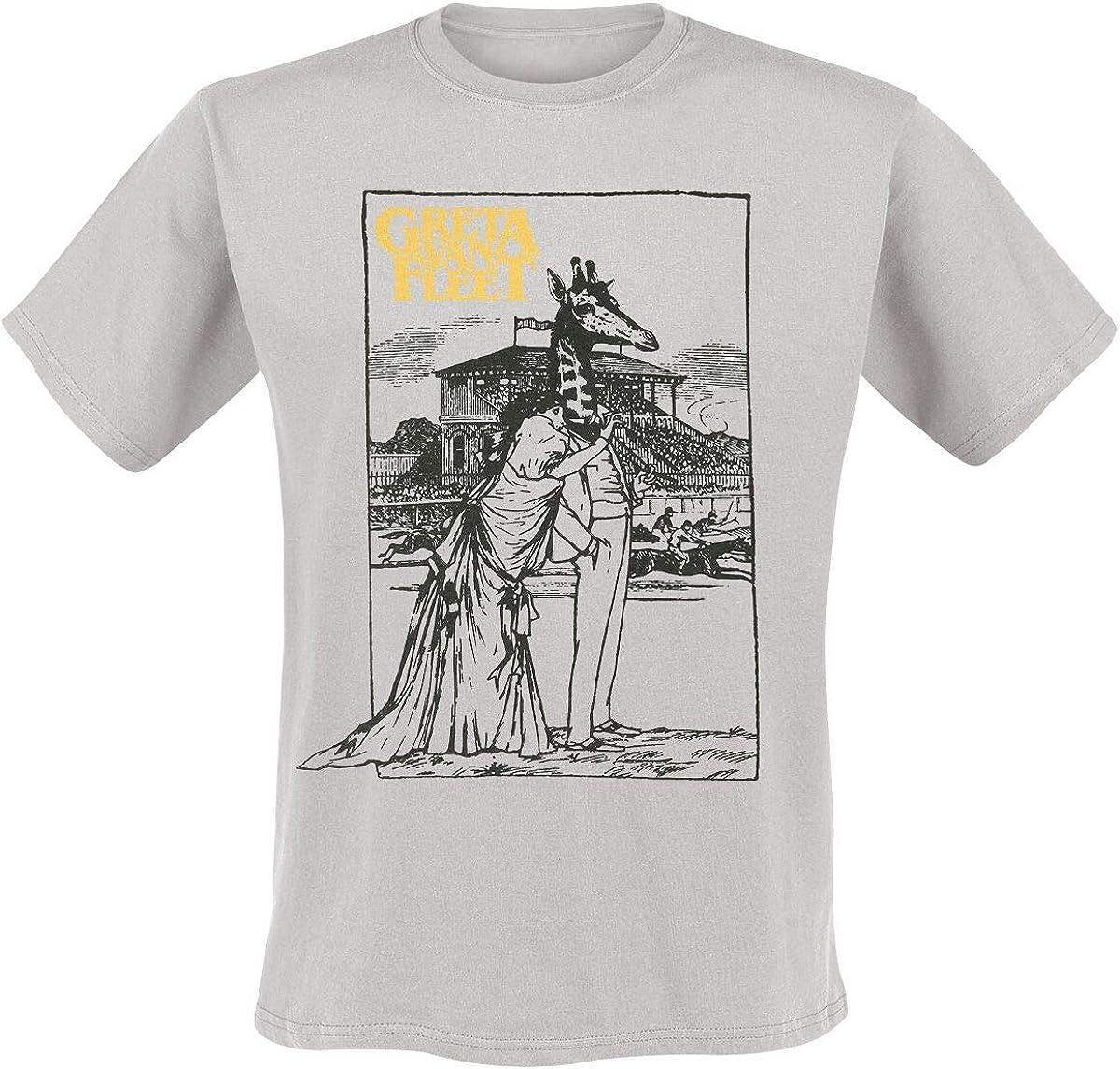 Greta Van Fleet Giraffe Hombre Camiseta Gris Claro, Regular: Amazon.es: Ropa y accesorios